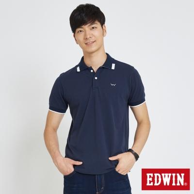 EDWIN 方塊領造型POLO衫-男-丈青