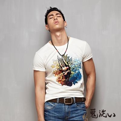 鬼洗 BLUE WAY 爆裂鬼日式花紋短袖T恤-白色