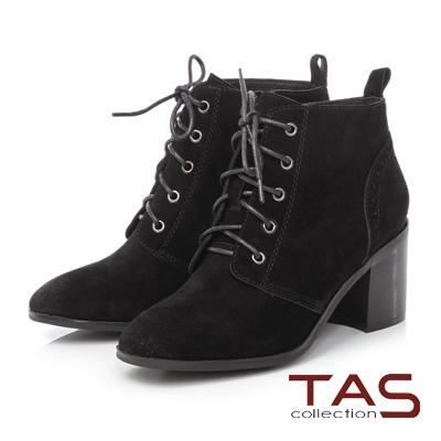 TAS 麂皮擦色素面綁帶高跟短靴-帥氣黑