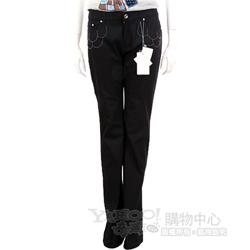i BLUES 黑色金珠飾滾邊設計長褲