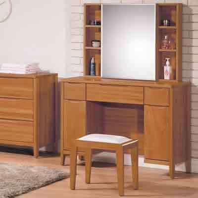 時尚屋 米堤柚木色鏡台-含椅子寬100X深40X高143.4cm