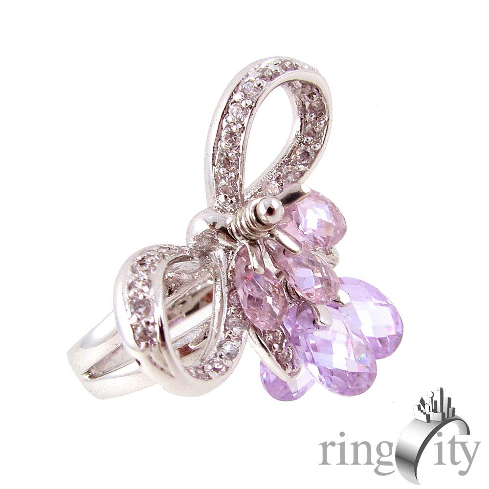 RingCity 蝴蝶結鋯石鏤空造型戒