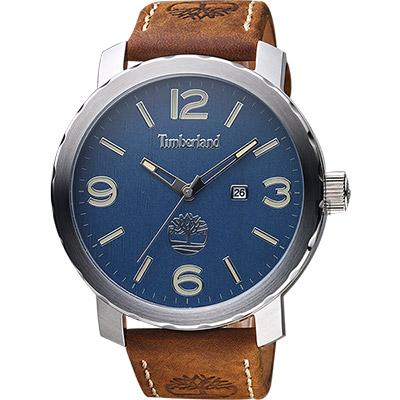 Timberland Pinkerton 木紋休閒大錶面男錶-藍x咖啡/50mm