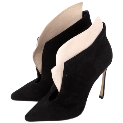 Sergio Rossi Donna 撞色拼接造型踝靴(黑x裸)