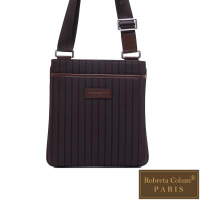 Roberta Colum - 倫敦時尚紳士休閒配牛皮薄型側背包-咖