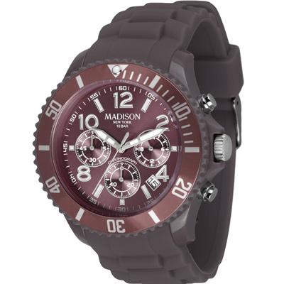 Madison NY CANDY 皇家運動風系列計時腕錶-可可棕/45mm