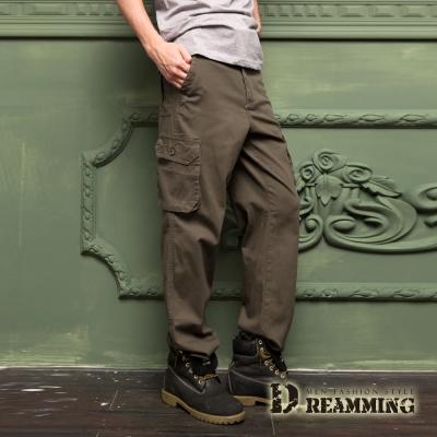 Dreamming 帥氣型男多口袋伸縮休閒長褲-褐綠