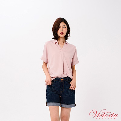 Victoria 半開襟落肩寬鬆短袖T-女-霧灰粉