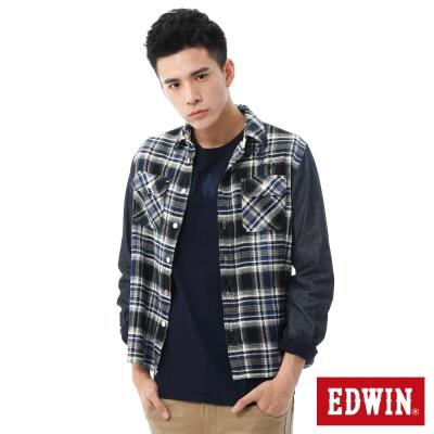 EDWIN 輕磨毛格紋剪接長袖襯衫-男-丈青格