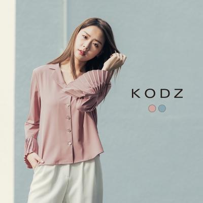 東京著衣-KODZ 歐美高質感造型袖壓摺襯衫-S.M.L(共二色)