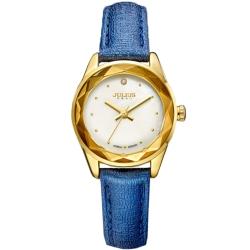 JULIUS聚利時 小獅子流星雨貝殼面皮帶腕錶-深藍/26mm