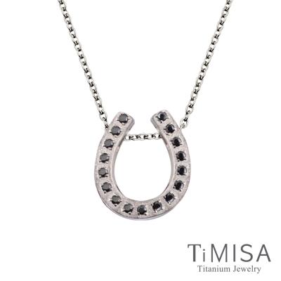 TiMISA 迷你幸運馬蹄(7色)純鈦極細鎖骨項鍊B