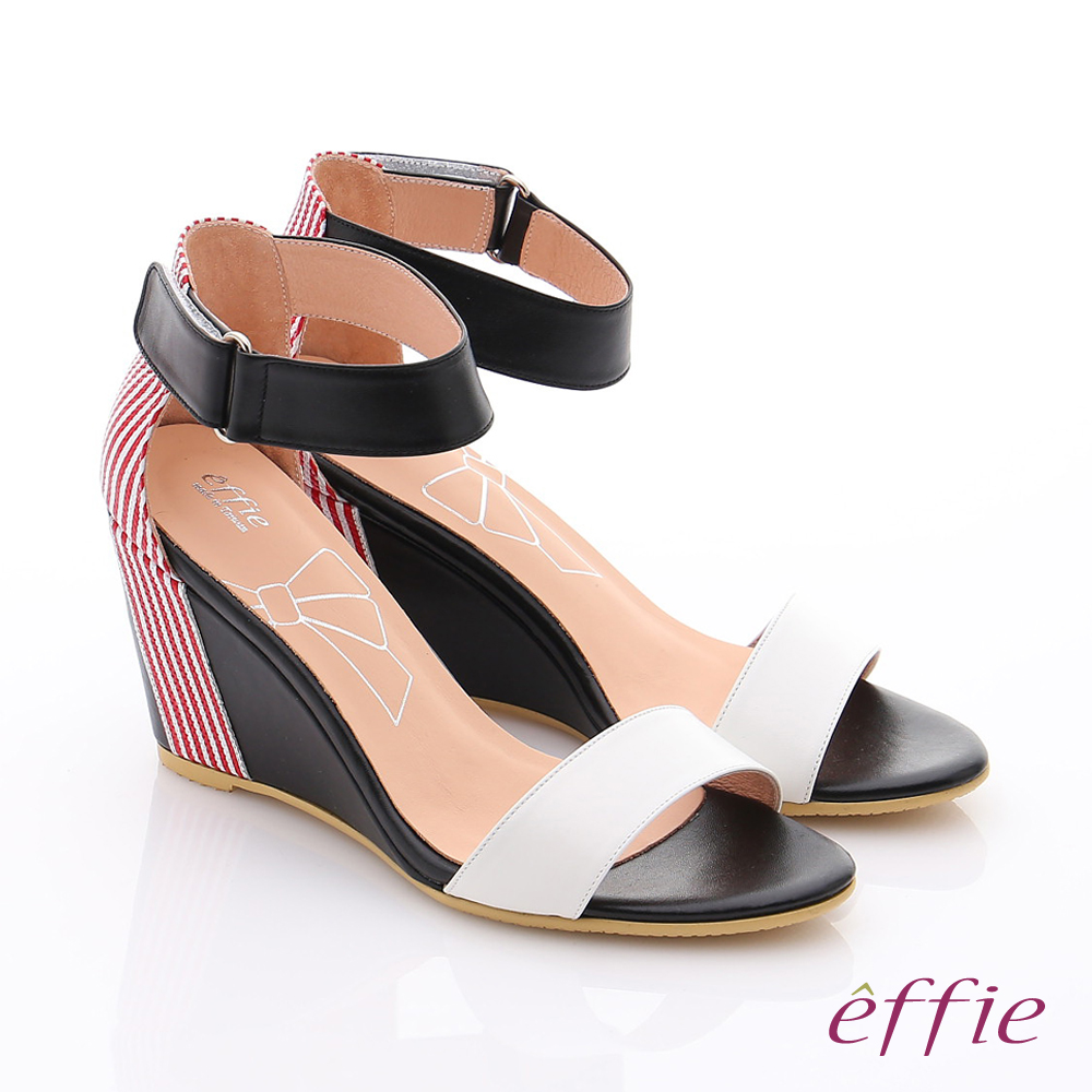 effie摩登美型 真皮條紋配色繫踝高跟楔型涼鞋 白色