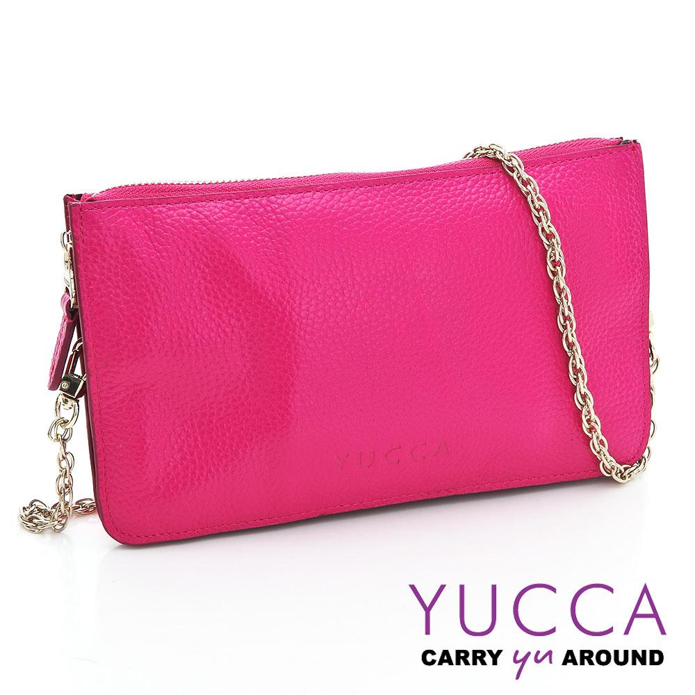 YUCCA - 牛皮淑女優雅手拿鏈帶包-桃紅色D0020012009