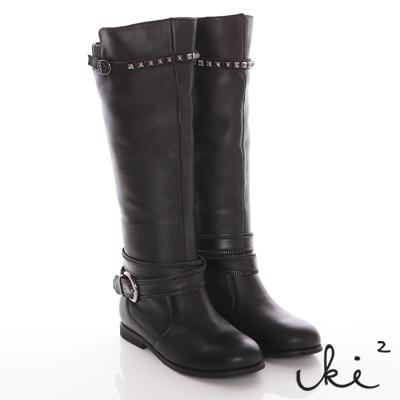 iki2-微甜對比-倒V修飾雙龐克環帶真皮馬術長靴-黑