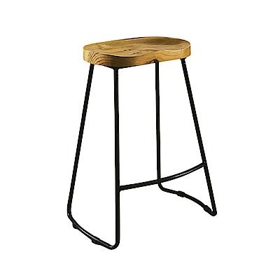AT HOME-工業風設計網背實木椅墊吧台椅(41*32*71cm)