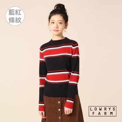 LOWRYS-FARM素色橫條紋交錯壓紋彈性長袖上衣-八色