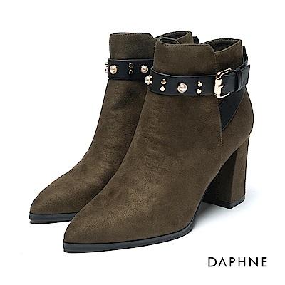 達芙妮DAPHNE 短靴-絨布皮帶扣鑽飾粗高跟踝靴-橄欖綠