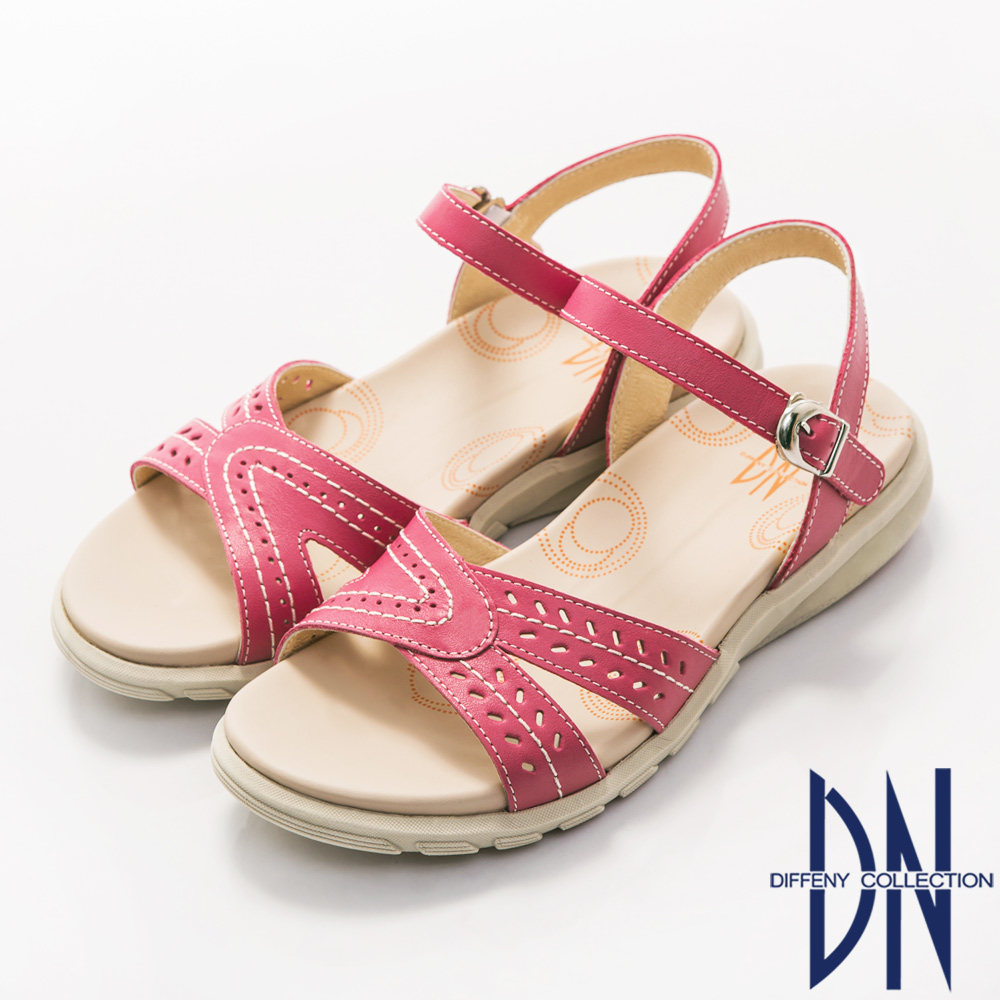 DN 簡約舒適 全真皮沖孔花紋氣墊涼鞋-桃紅