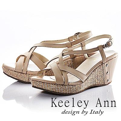 Keeley Ann 夏日俏皮~交叉環繞編織金屬飾扣全真皮楔形涼鞋(米色)