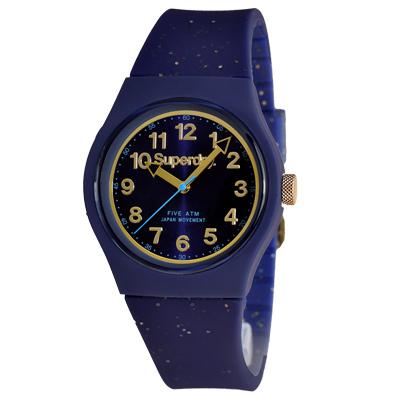 Superdry 極度乾燥 亮麗街頭 矽膠 運動腕錶-藍帶/藍面/37mm