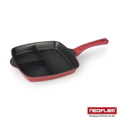 韓國NEOFLAM 珍珠紅系列 28cm 3合1方型煎鍋(電磁底)