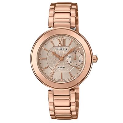 SHEEN羅馬時刻施華洛世奇時尚簡約腕錶(SHE-3050PG-7A)-金色X金面/32mm