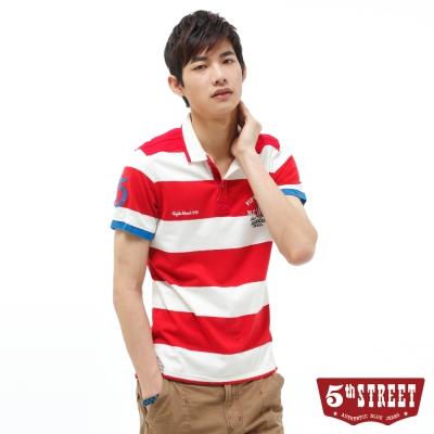 5th STREET POLO衫 率性配色條紋POLO衫-男-桔紅