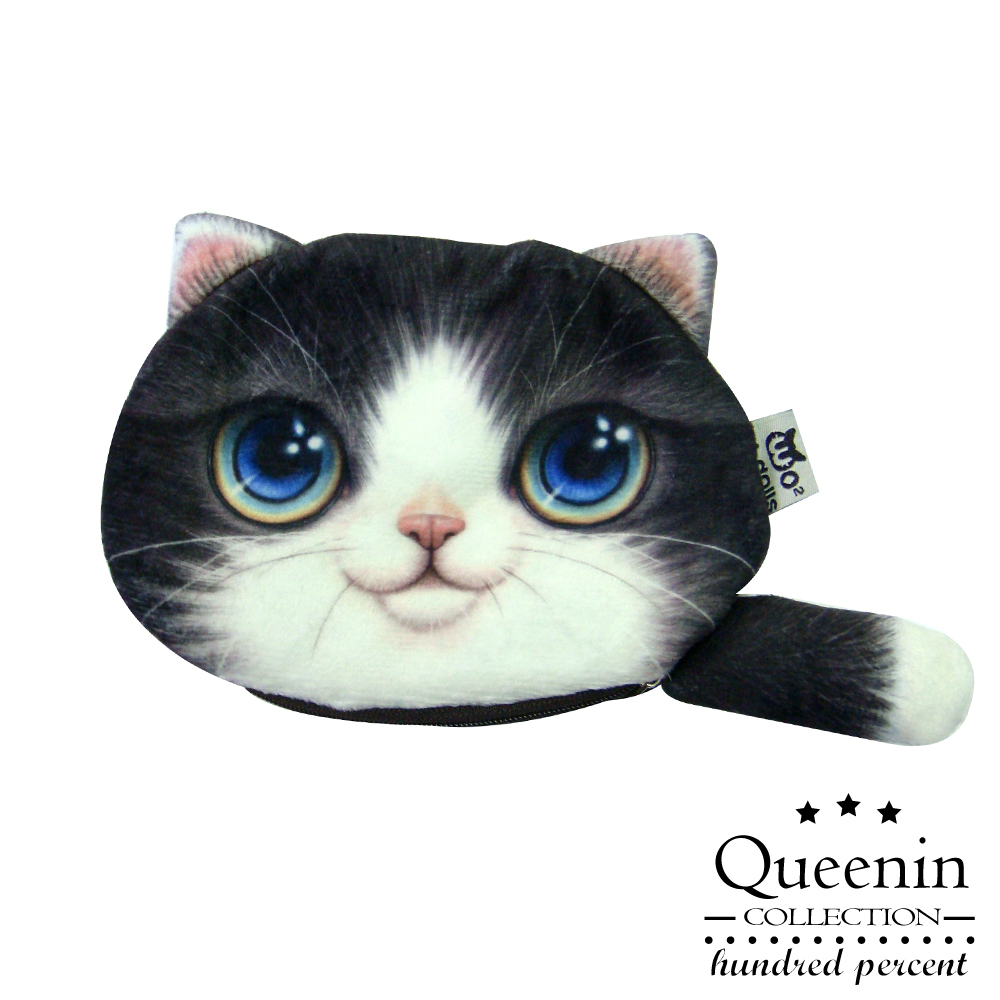 DF Queenin皮夾 - 超可愛大眼水汪貓星人零錢包-賓士貓