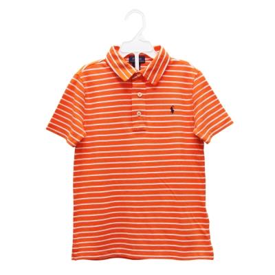 Ralph Lauren 男童經典小馬條紋短袖POLO衫-橘/白(6歲)