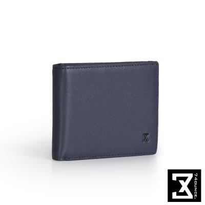 74盎司 Plain 真皮橫式短夾(小)[N-500]藍