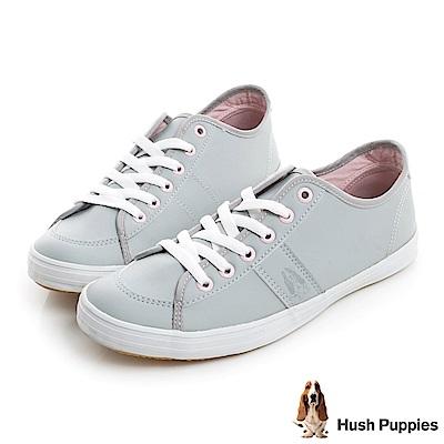 Hush Puppies 經典皮質咖啡紗休閒鞋-淺灰