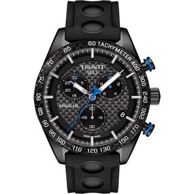 TISSOT 天梭 PRS516 三眼計時腕錶-黑/42mm