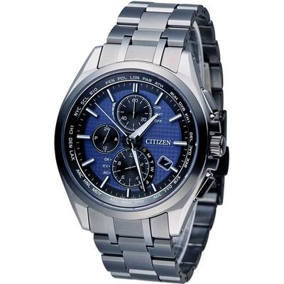 CITIZEN 星辰 頂尖菁英科技萬年曆限量電波錶(AT8044-72L)-藍/41mm