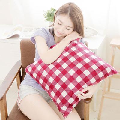 奶油獅 格紋系列-台灣製造-100%精梳純棉方型抱枕布套-50*50專用(紅)
