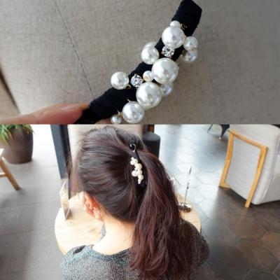 梨花HaNA 韓國小店長驚豔自留全珍珠緞帶香蕉夾