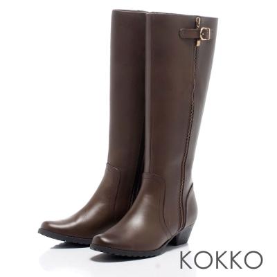 KOKKO玩酷風潮拉鍊式兩穿牛皮低跟長靴