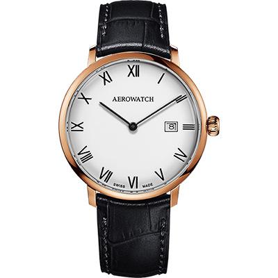 AEROWATCH Heritage系列尊爵時尚石英腕錶-白x全玫塊金框x黑/40mm