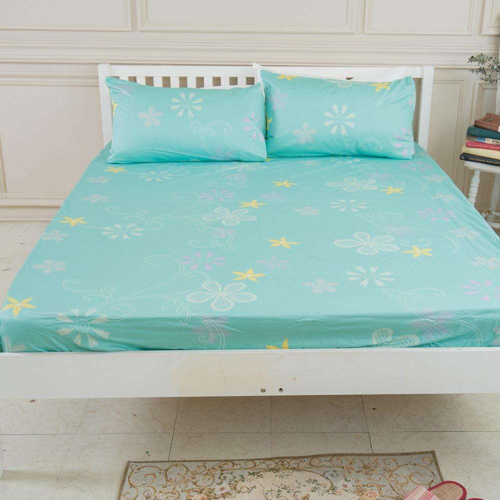 米夢家居-台灣製造-100%精梳純棉單人3.5尺床包兩件組-花藤小徑