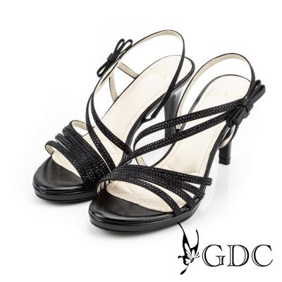 GDC-都會時尚水鑽寶石繞帶側蝴蝶高跟涼鞋-黑色