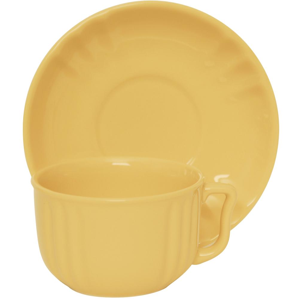 EXCELSA Chic陶製咖啡杯碟組(奶油黃220ml)