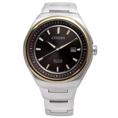 CITIZEN 日期顯示光動能鈦金屬手錶(AW1255-50W)-咖啡色/43mm