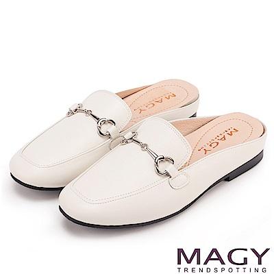 MAGY 優雅時髦 質感牛皮平底穆勒鞋-白色