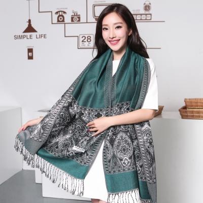 Seoul-Show波西風情-純棉編織圍巾-墨綠