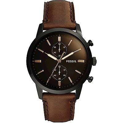 FOSSIL Townsman 城區計時手錶-咖啡/44mm