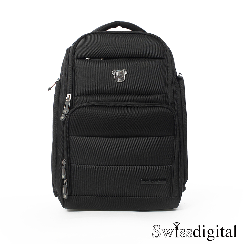 Swissdigital - 黑色原力系列 穩立防震筆電後背包(RFID) - 老實黑