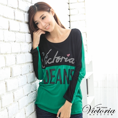 Victoria 撞色LOGO字母TEE-女-綠色