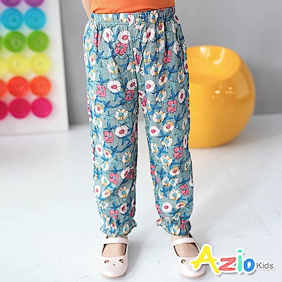 Azio Kids 童裝-長褲 滿版花朵縮口褲管長褲(藍)