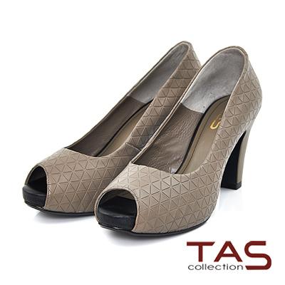 TAS-三角壓紋牛皮魚口高跟鞋-氣質灰