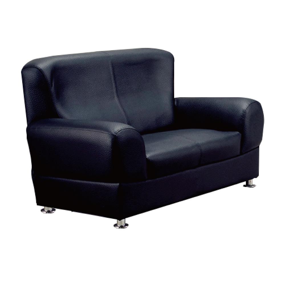 品家居 艾迪斯透氣黑皮革沙發雙人座-156x82x95cm免組